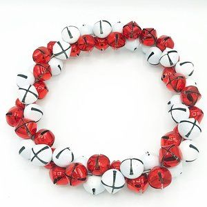 Distressed Red and White Jingle Bell Metal Wreath